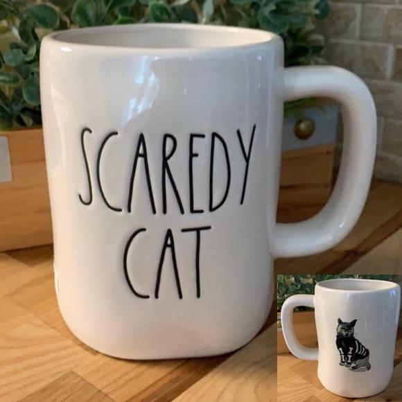 "RAE DUNN ""SCAREDY CAT"" DOUBLE SIDED CERAMIC MUG"